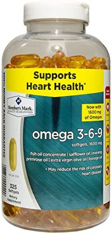 Member's Mark Wellness & Nutrition Omega 3-6-9 1500mg Fish Oil Reduces Heart Disease Cardiovascular Antioxidants - 325 Clear Softgels Dietary Supplement - Formerly Known as Simply Right
