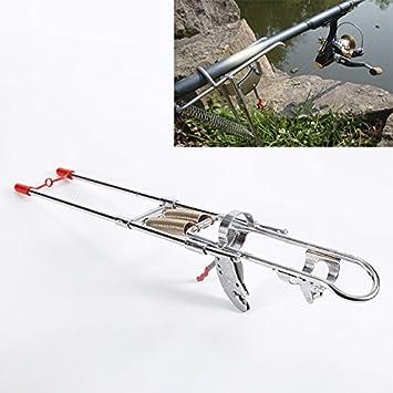 Tianu Soporte para caña de pescar de doble resorte de acero inoxidable, con gancho automático ajustable, soporte plegable