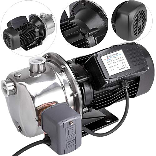 Happybuy Shallow Well Jet Pump with Pressure Switch 3/4HP Jet Water Pump 131 ft Stainless Steel Jet Pump to Supply Fresh Well Water to Residential Homes Farms Cabins ()