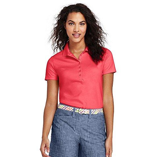 Lands' End Women's Tall Pima Cotton Polo Shirt, S, Light Watermelon Sorbet -