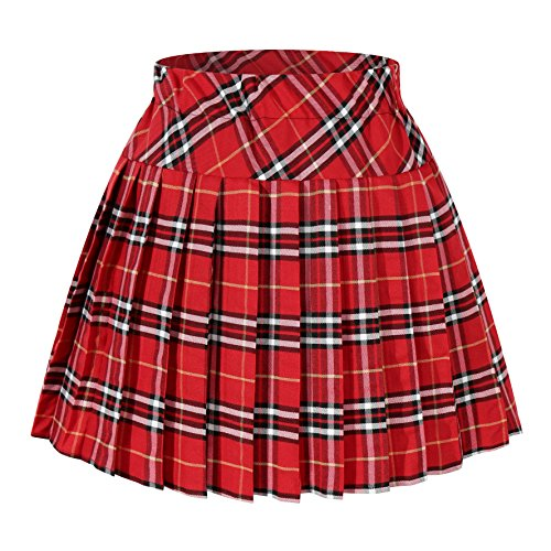 Women`s Elasticated Plaid Pleated Skirt Plus size Costumes(XL, Red white)