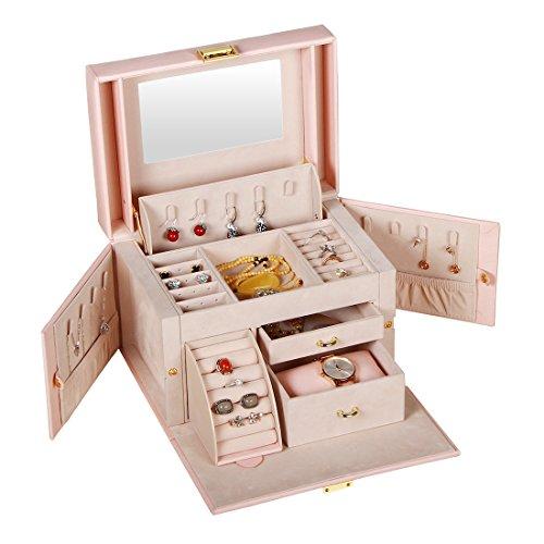 Box Elegant Jewelry (YAPISHI Large Jewelry Box Organizer,PU Leather Jewelry Travel Storage Display Case for Earring Ring Necklace Bracelet Watch,Elegant Jewelry Box for Girls Women (Pink))