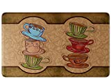 Kitchen Rugs Coffee Cups Art3d Coffee Cup Party Anti-Fatigue Comfort Memory Foam Kitchen Mat, 18