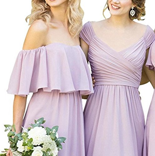 Gowns Red a Bridesmaid Long Line Simple Yilisclothing Chiffon Prom Evening A Dress Women's Ruffles PwO7H1