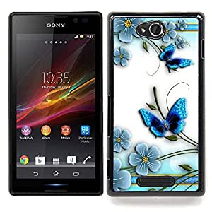 Queen Pattern - FOR Sony Xperia C S39h C2305 - Butterfly White Floral Flower Petal - Cubierta del caso de impacto con el patr???¡¯???€????€????&
