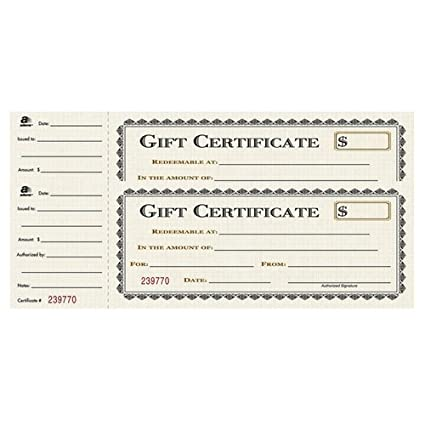 amazon com adams 1 part gift certificates with stub 3 1 4 x 7 13