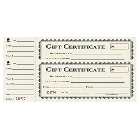 Adams Gift Certificate Book, Single Paper, 3.25 x 11 Inches, Cream, 25 Numbered Certificates (GFTBK1) TOPS Business Forms Inc.