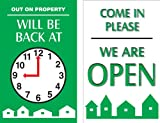 Accuform MPCM503 Dura-Plastic Double-Sided ''Be Back'' Clock Sign, Legend ''OUT ON PROPERTY - WILL BE BACK AT (CLOCK GRAPHIC) / COME IN PLEASE - WE ARE OPEN'', 8'' Length x 5'' Width x 0.062'' Thickness, Green/White