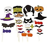 Naice Photo Booth Props 24pcs DIY Kit for Halloween Party with Mustache, Pumpkins, Witch, Ghosts, Bats, Mouth on sticks