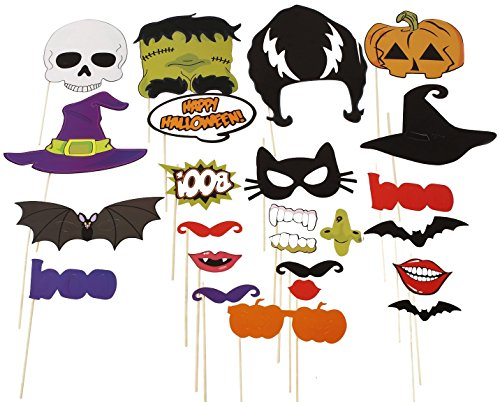 Naice Photo Booth Props 24pcs DIY Kit for Halloween Party with Mustache, Pumpkins, Witch, Ghosts, Bats, Mouth on - Photo Diy A Booth Make To How