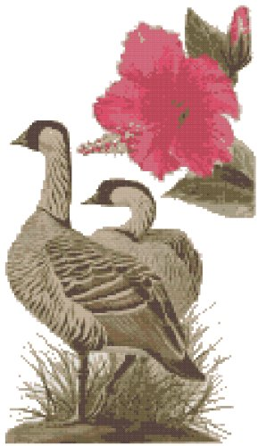 Hawaii State Bird (Hawaiian Goose, Nene) and Flower (Hibiscus) Counted Cross Stitch Pattern
