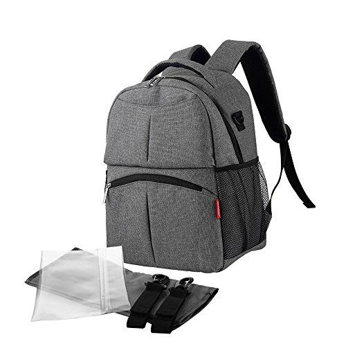 Cambiador/bolsa de pañales grande unisex + cambiador acolchado + bolsa de pañales + con asas de agarre para carrito. gris gris