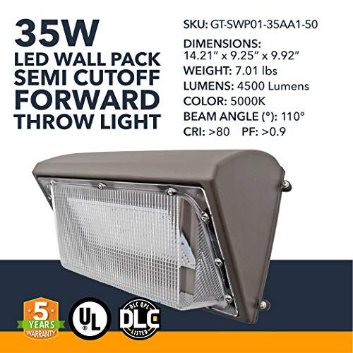 35W Wall Pack LED - 4500 Lumens, LED Powered Outdoor Security Semi Cutoff Wall Pack Lights - Commercial or Industrial Security Lighting - 5000K - (UL + DLC)