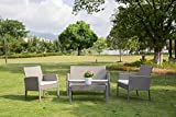 Patio Furniture Sets Garden Lawn Outdoor 4 Pcs PE Wicker Rattan Modern Sofa Set Cushioned Seats