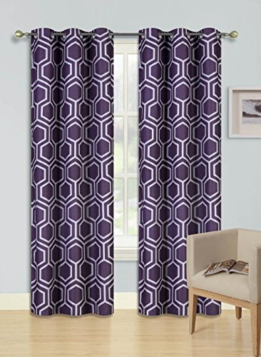 GorgeousHomeLinen (F'S) 1 Panel 2 Tone Printed Design Room Darkening Thermal Blackout Window Curtain 63