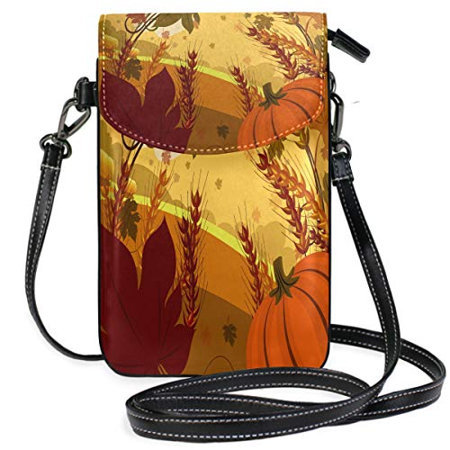 Very Special Thanksgiving Wallpaper Small Crossbody Bag Cellphone Purse Womens Mini Leather Shoulder Bags