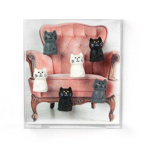 6 x Kühlschrankmagnete Katze 34x22x8mm Magnete für Pinnwand Magnettafel