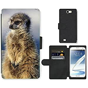 Super Stella Cell Phone Card Slot PU Leather Wallet Case // M00147643 Meerkat Nature Animals Mammal Wild // Samsung Galaxy Note 2 II N7100