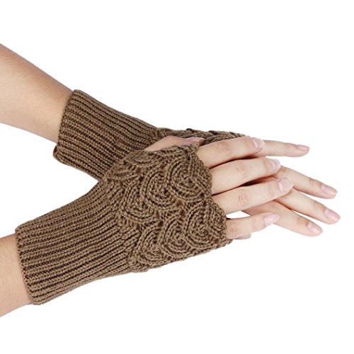 Hot Sale !!! Women's Winter Gloves,Jushye Christmas Womens Warm Winter Brief Paragraph Knitting Half Fingerless Gloves - Khaki Half