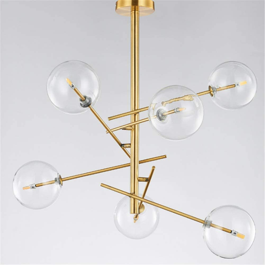 Lámparas de araña dorado American Simple 6 cabezas forjadas Cristal de hierro Bola redonda Pantalla LED Lámpara de techo colgante Colgante de luz para bar, café, sala de estar, dormitorio, comedor