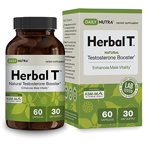 Herbal T Natural Testosterone Booster: Increase Energy, Endurance, and Libido. Male Enhancement Supplement Featuring Clinically Proven KSM-66 Ashwagandha (30 day supply) Featuring Natural