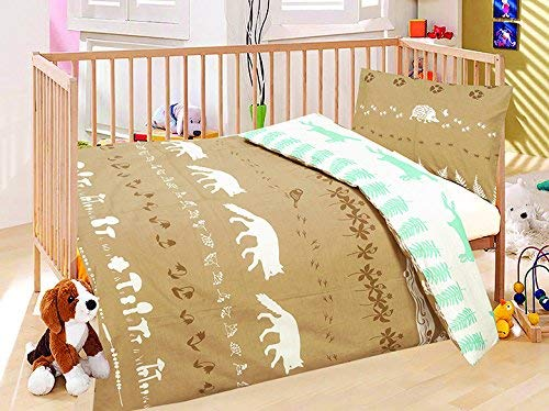 LOVE2SLEEP COT BED DUVET COVER WITH PILLOWCASE- SUPERIOR NATURAL COTTON RICH 120 X 150 CM - WILD ANIMALS