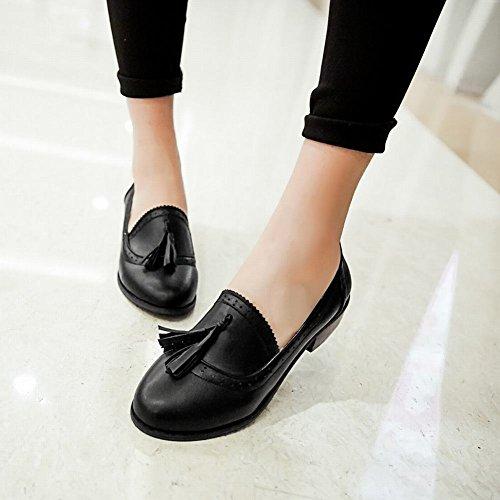 Carolbar Womens Glands Mode Bureau Dame Style Simple Bas Chunky Talon Mocassins Chaussures Noir