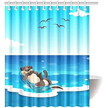 ADEDIY Fashion Custom Shower Curtain Sea Otter Living In The Ocean Waterproof Polyester 60x72 Inch Bath Home Decor