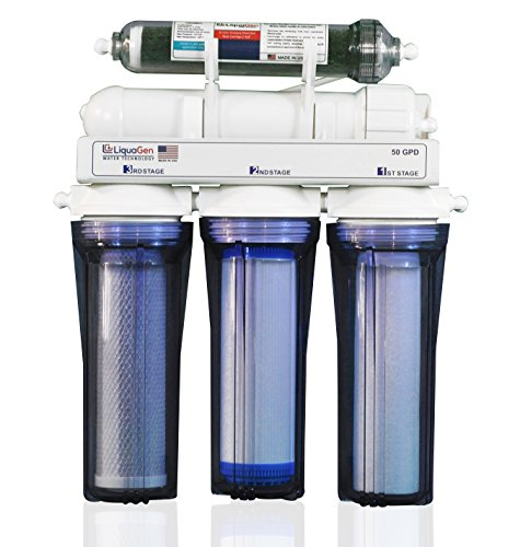 LiquaGen 5-Stage Reverse Osmosis/Deionization (RO/DI) - Aquarium Reef Water Filter System, 50 GPD by LiquaGen