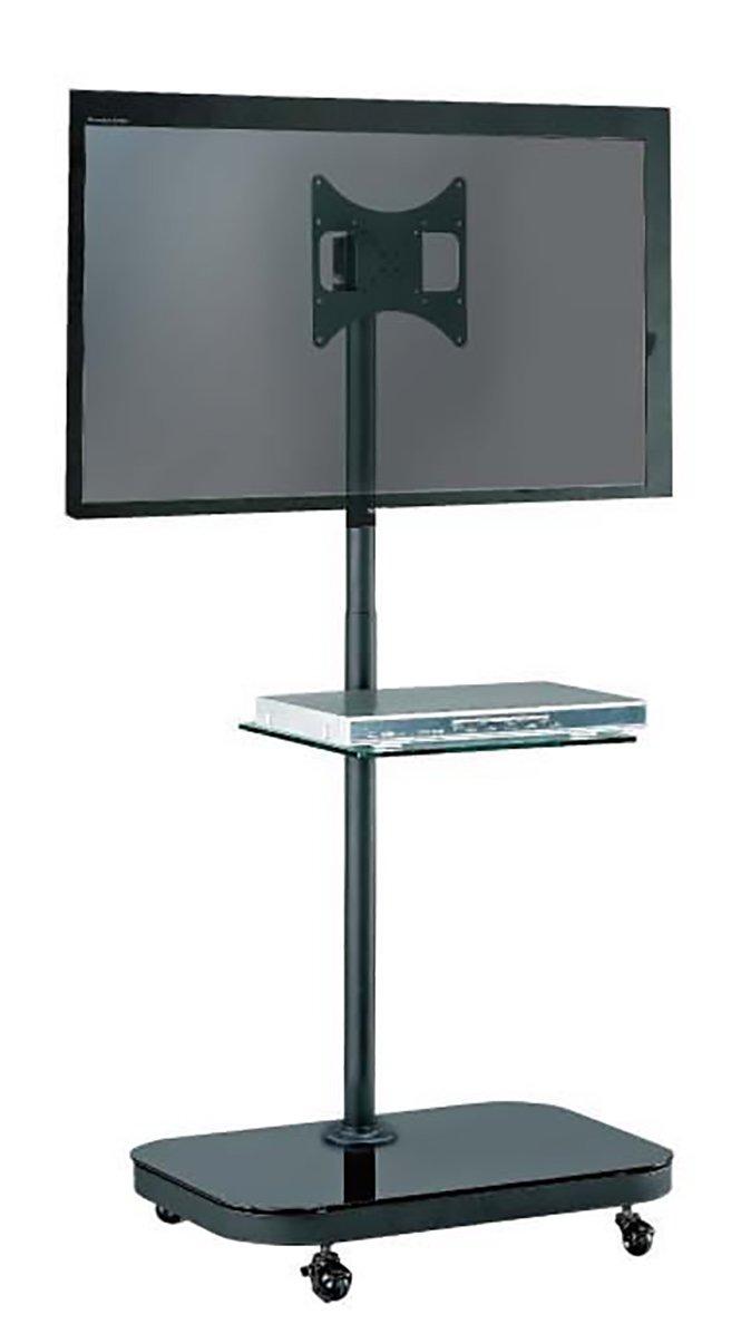 fs94 series led lcd tv trolley floor stand w mounting bracket glass shelf ebay. Black Bedroom Furniture Sets. Home Design Ideas