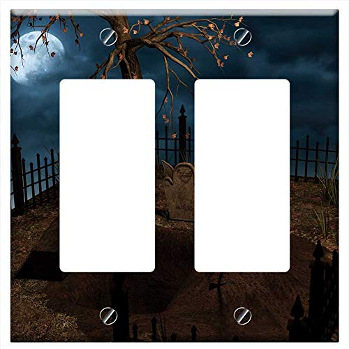 (Switch Plate Double Rocker/GFCI - Halloween Grave Cemetery Coffin Moon)