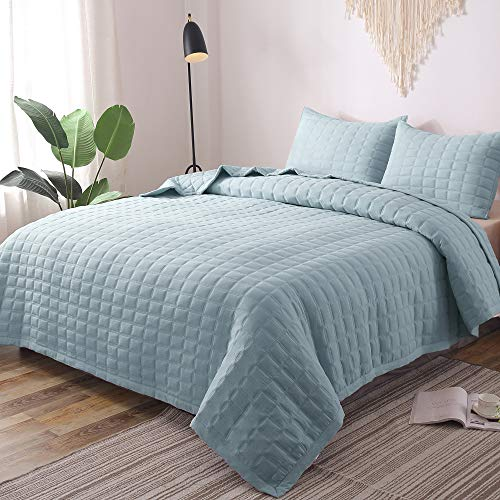 - GOONE Super Soft Lightweight Bedding Quilt Sets,Filling with Skin Friendly Breathable Hydrophillic Down Alternative, Multipurpose As Bedspread Thin Comforter with 2 Shams Solid Color
