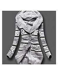 XuBa Mujeres de Invierno Gruesa con Capucha Cardigans Suéteres Fleece Cálido Sólido Escudo de Punto de Manga Larga Prendas de Punto Prendas de Vestir Exteriores H9 L