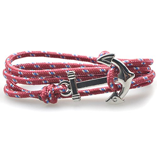 SWEETIE 8 Unisex Men's Women's Silver Nautical Anchor Nylon Rope Bracelet - Burgundy