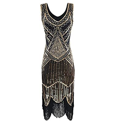 Heroecol Vintage 1920s Dress Retro Sequined Beaded Tassels Flapper Gatsy Style