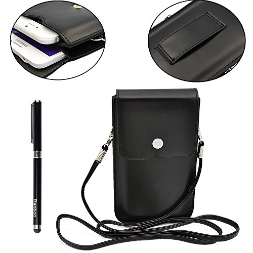 New Fashion Women's Girls Casual Mini Pu Leather Two Layers Shoulder Bag Cellphone Pouch Bag Small Purse & Key Credit Card Wallet Pouch with Shoulder Strap for Iphone 6 Plus , Iphone 6 ,Samsung Galaxy Note 4, Note 3,note 2 ,Lg G3,sony Xperia Z2 Z3 ,Htc ONE M8 and More Mobile Phone + Free 2 in 1 Stylus (Black)