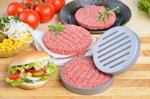 GRÄWE Burgerpresse mit 50 Blatt Backpapier, Hamburgerpresse Set aus Aluguss für leckere Hamburger, Patties, BBQ, Burger Presse mit Antihaftbeschichtung 5