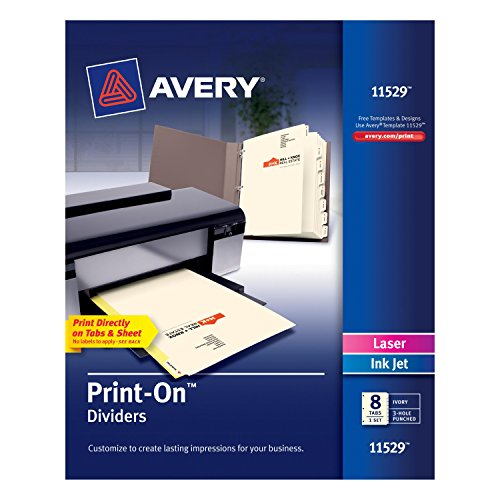 Avery Print-On Dividers, 8 Tabs, Ivory, Laser/Ink Jet, 1 Pack (11529) supplier