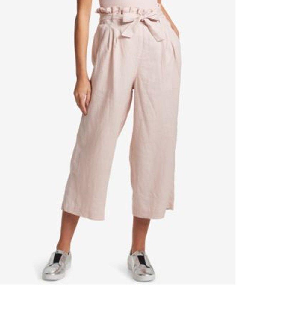 DKNY Sport Womens Linen Paper-Bag Waist Cropped Leg Pants, Dark Pink, Large