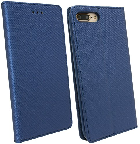 Elegante Buch-Tasche für das Iphone 7 PLUS in Navy-Blau Leder Optik Wallet Book-Style Bumper Flip-Case@ Energmix