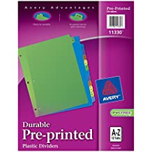 Avery Plastic Preprinted Tab Dividers, 8.5 x 11 Inches, A-Z Tab, Multi-Color Tab, 1 Set (11330)