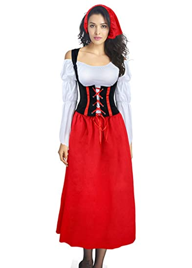e41280133a6 Amazon.com  QOCAOFIG Women s German Dirndl Serving Wench Long Dress ...