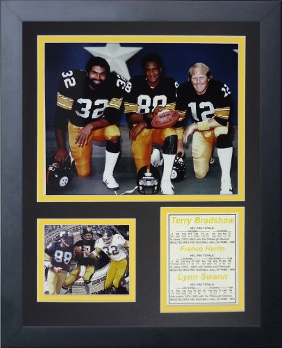 Legends Never Die Pittsburgh Steelers 70's Big 3 Kneeling Framed Photo Collage, 11x14-Inch (Signed Large Photo)