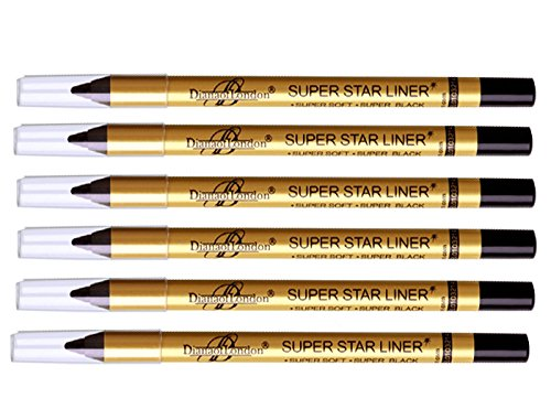 6 Pc Diana of london super star black eyeliner single stroke smudge proof, long stay ( Sealed with latest stock) by Diana of London