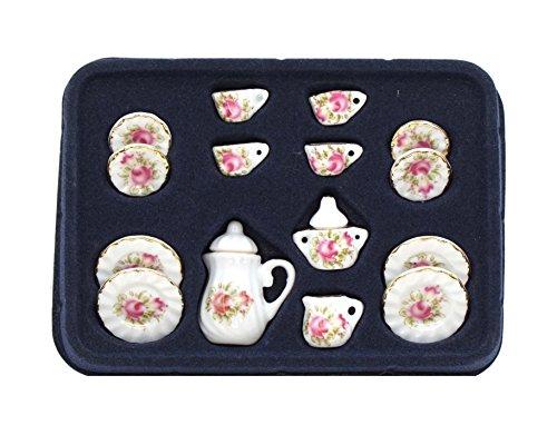 Miniature Porcelain Tea Set (Dollhouse Miniature Porcelain Rose Pink Flower Teapot Set - 17Pcs Toy Teapot Set )