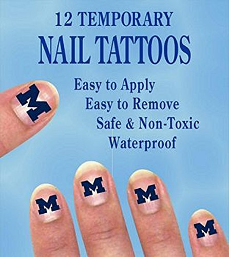 Price comparison product image Michigan Wolverines Finger Nail Decals Temp Tattoos Set of 12 NCAA Licensed