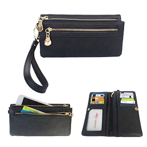 Women Clutch PU Leather Wallet (Black) - 1