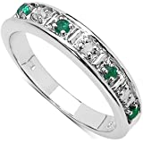 The Diamond Ring Collection: Beautiful 3mm Width Emerald & Diamond Eternity Ring in Sterling Silver, Mother's Day, Anniversary Gift, Ring Size H,I,J,K,L,M,N,O,P,Q,R,S,T,U,V,W