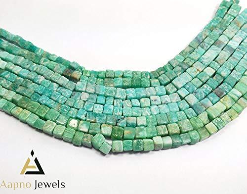 1 Strand Natural Green Amazonite Loose Beads Strand, 5-7mm 8 Inch Smooth Cube Box Green Amazonite Beads, Green Amazonite Beads Necklace, Jewelry Making Amazonite Beads, Knotted Amazonite Necklace