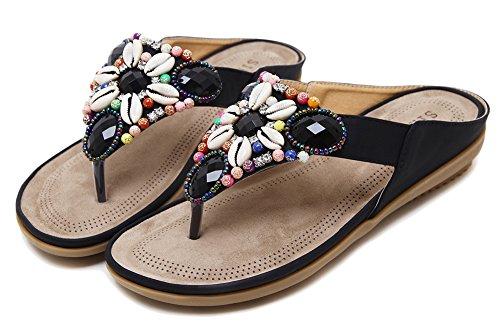 AGOWOO Womens Beaded Walking Beach Thong Sandals Flip Flops Black Py0XePrR